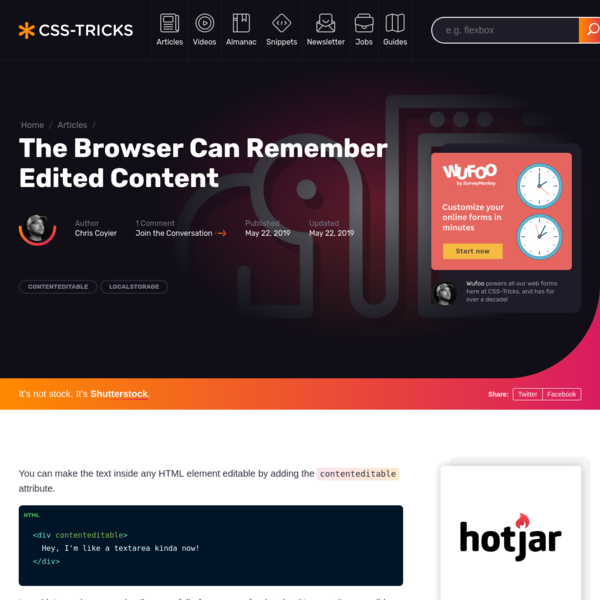 The Browser Can Remember Edited Content | CSS-Tricks