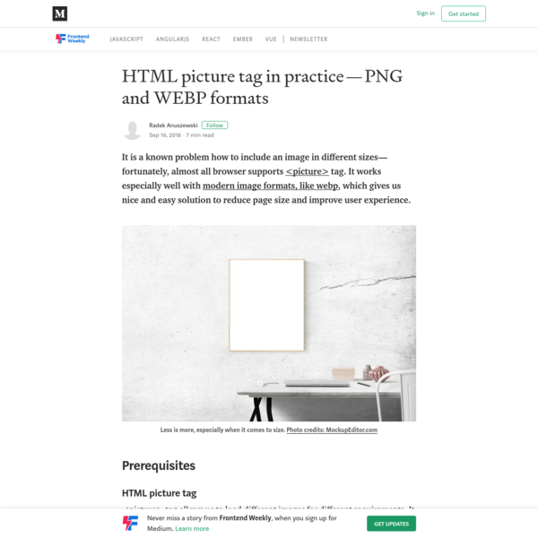 HTML picture tag in practice - PNG and WEBP formats