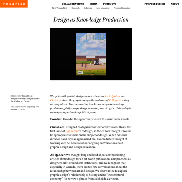 Design as Knowledge Production | Frontier
