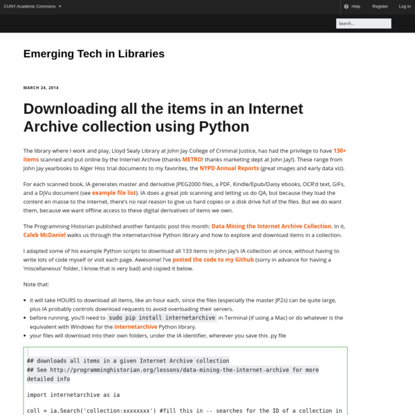 Downloading all the items in an Internet Archive collection using Python