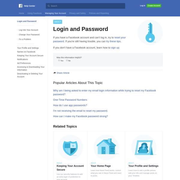 Login and Password | Facebook Help Center | Facebook