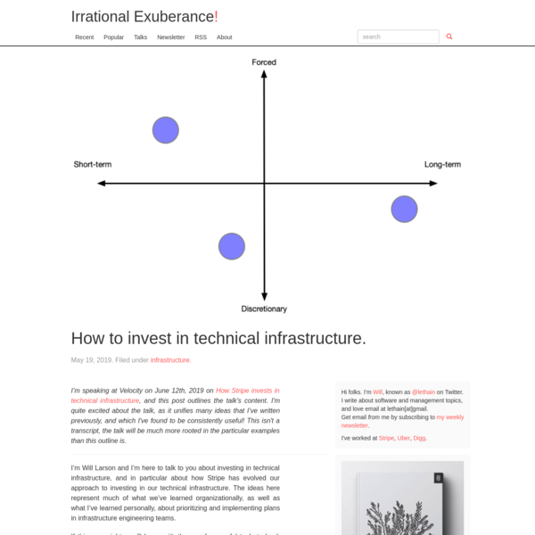 How to invest in technical infrastructure.