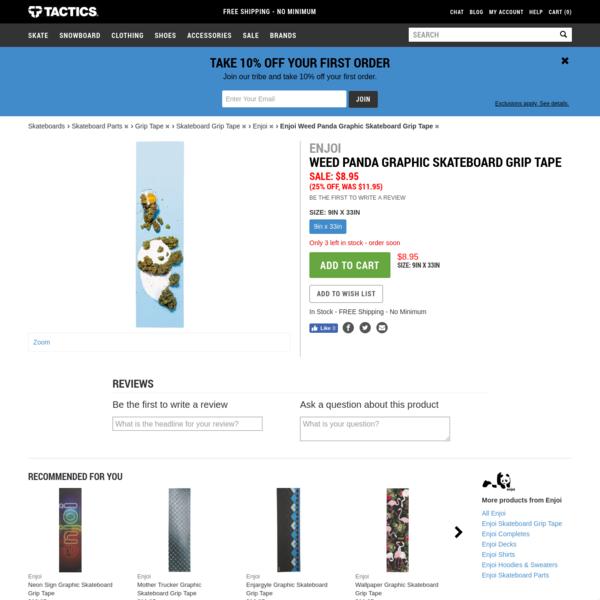 Enjoi Weed Panda Graphic Skateboard Grip Tape @ Tactics.com
