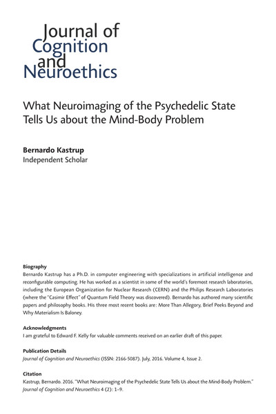 What Neuroimaging of the Psychedelic State Tells Us about the Mind-Body Problem