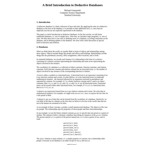 Deductive Databases