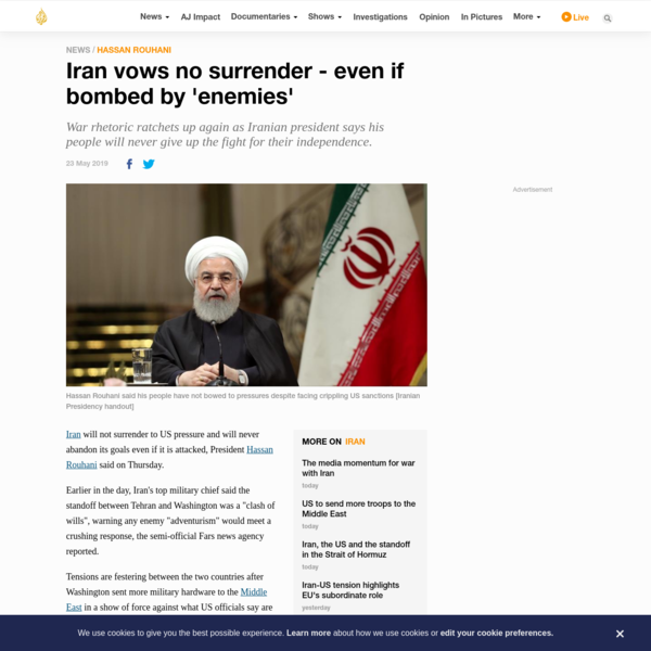 Iran vows no surrender - even if bombed by 'enemies'