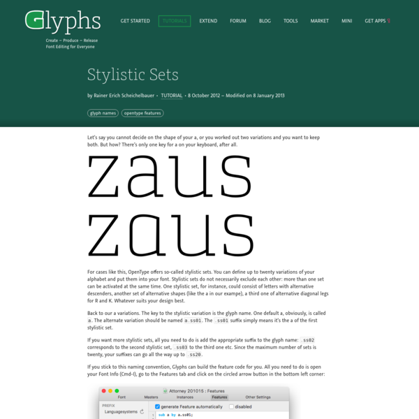 Stylistic Sets | Glyphs