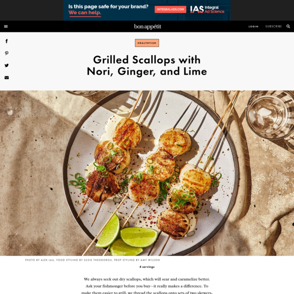 Grilled Scallops with Nori, Ginger, and Lime Recipe