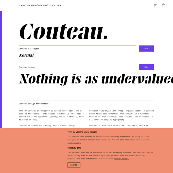 TYPE BY: Couteau