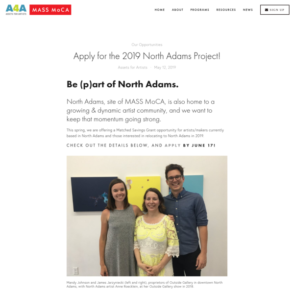 Apply for the 2019 North Adams Project!
