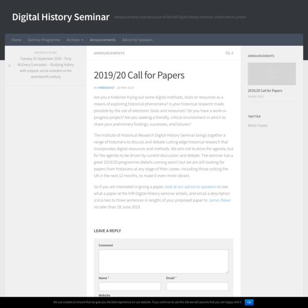 2019/20 Call for Papers - Digital History Seminar