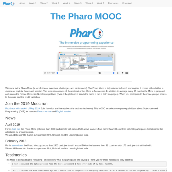 Pharo MOOC: Live Object Programming in Pharo