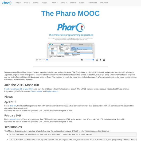 Pharo MOOC: Live Object Programming in Pharo