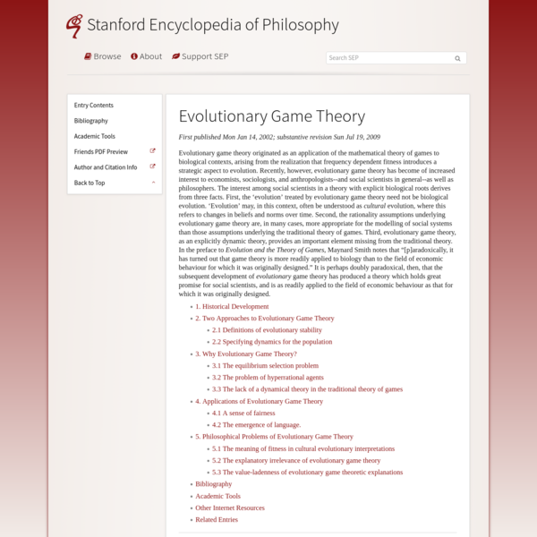 Evolutionary Game Theory (Stanford Encyclopedia of Philosophy)