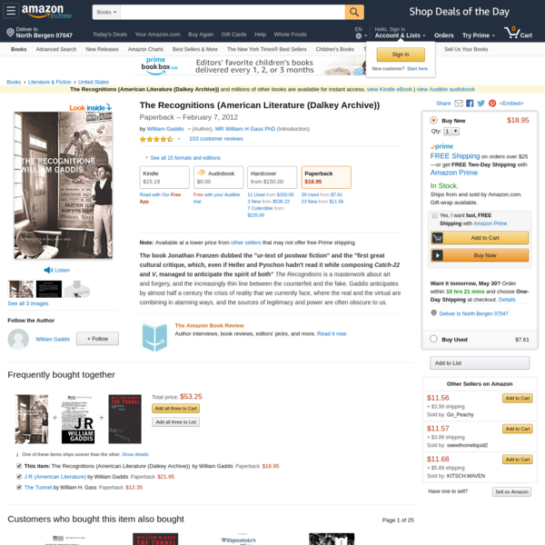 The Recognitions (American Literature (Dalkey Archive)): William Gaddis, MR William H Gass PhD: 9781564786913: Amazon.com: Books
