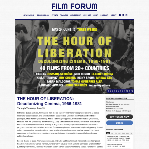 Film Forum · THE HOUR OF LIBERATION: Decolonizing Cinema, 1966-1981