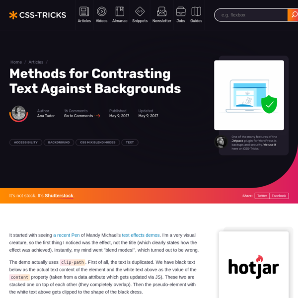 Methods for Contrasting Text Against Backgrounds | CSS-Tricks