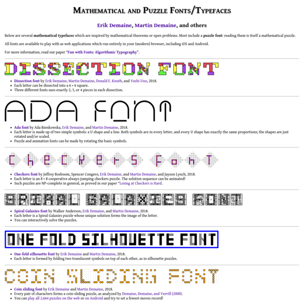 Mathematical and Puzzle Fonts/Typefaces