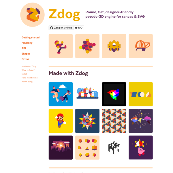 Zdog · Round, flat, designer-friendly pseudo-3D engine for canvas and SVG