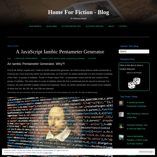 A JavaScript Iambic Pentameter Generator - Home For Fiction - Blog