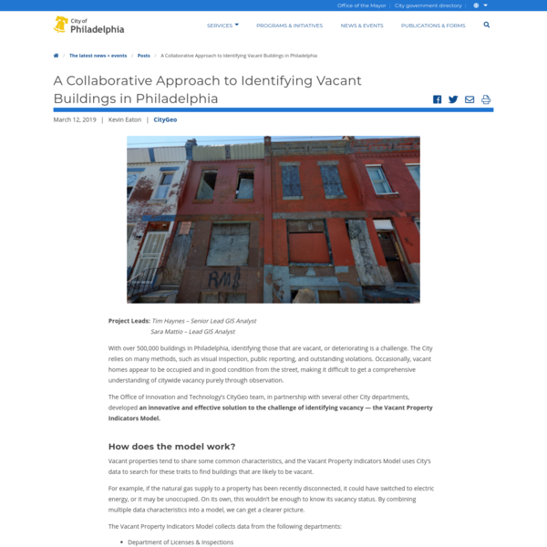 A Collaborative Approach to Identifying Vacant Buildings in Philadelphia | CityGeo