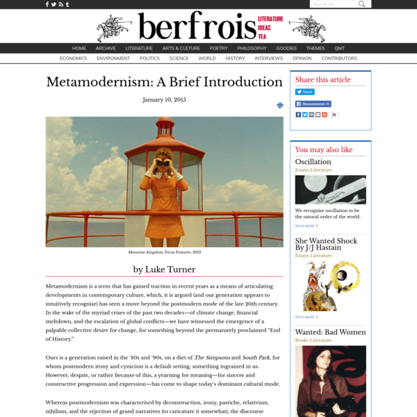 Everything You Always Wanted to Know About Metamodernism* - Berfrois
