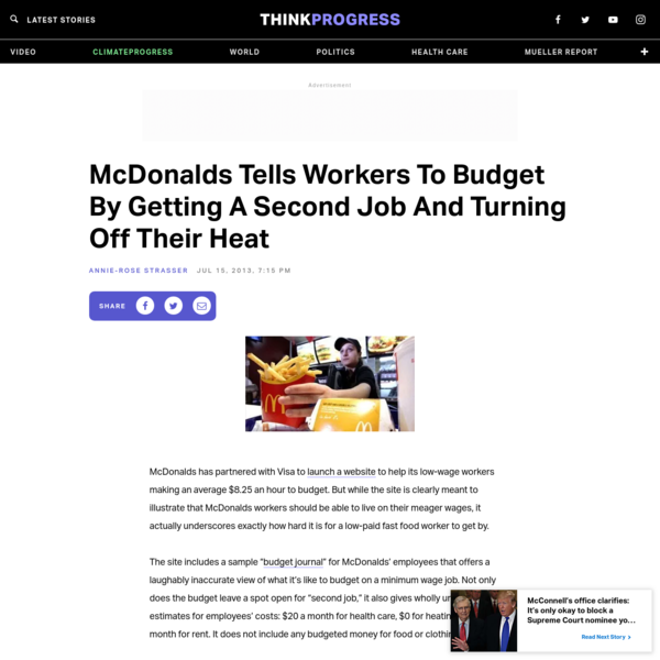 McDonalds Tells Workers To Budget By Getting A Second Job And Turning Off Their Heat