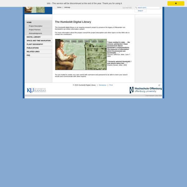 Alexander Von Humboldt Digital Library | Project Humboldt Digital Library