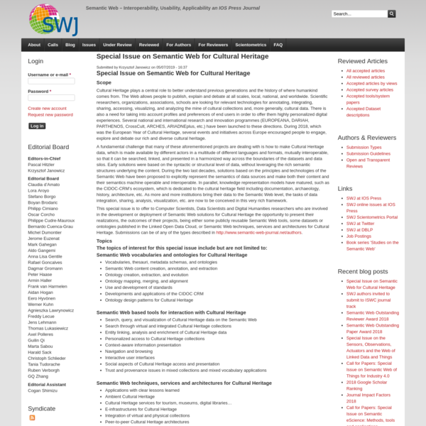 Special Issue on Semantic Web for Cultural Heritage