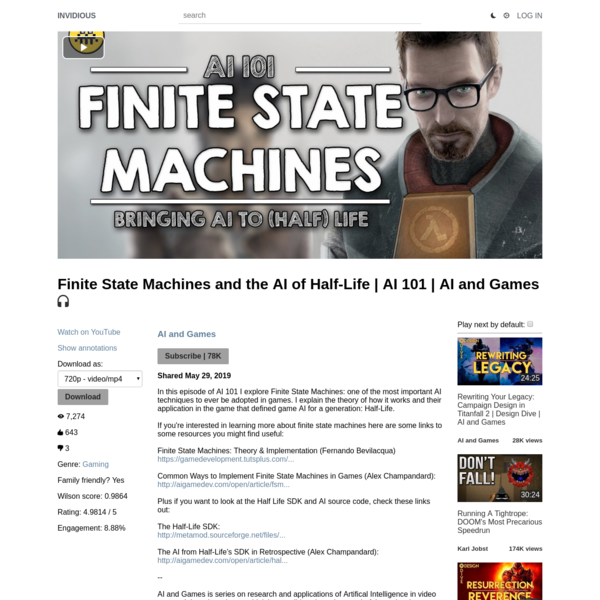 Finite State Machines and the AI of Half-Life | AI 101 | AI and Games