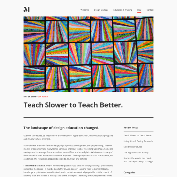 Teach Slower to Teach Better. – Modernist Studio
