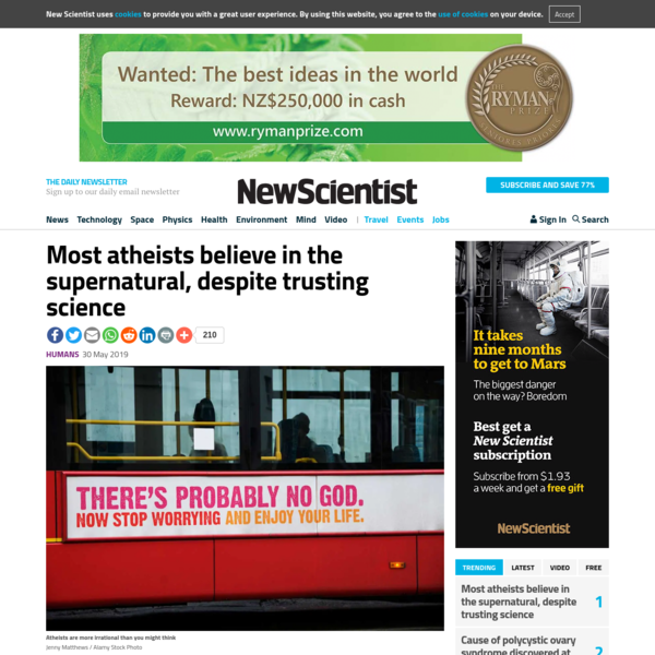 Most atheists believe in the supernatural, despite trusting science