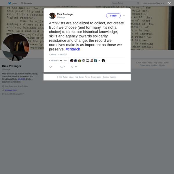 Rick Prelinger on Twitter