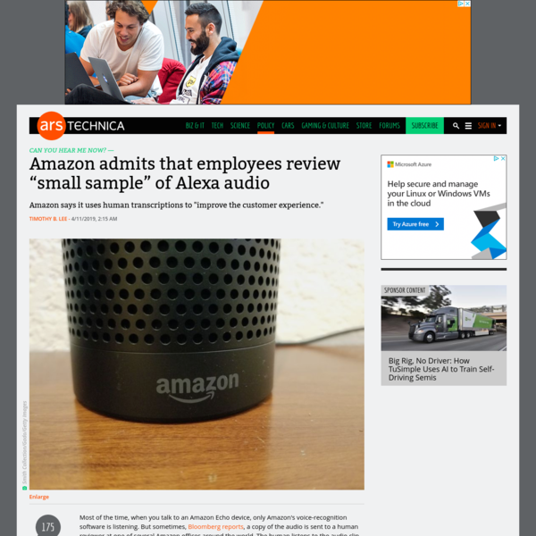 "Amazon admits that employees review ""small sample"" of Alexa audio"