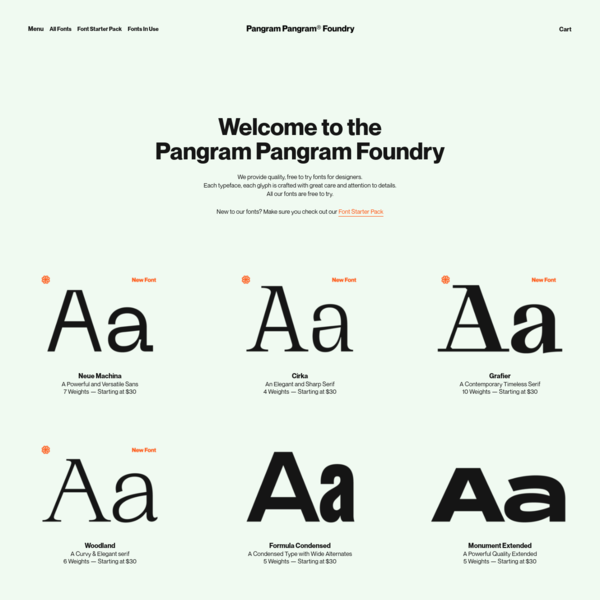 Pangram Pangram Foundry - Free to Try Quality Fonts and Typefaces