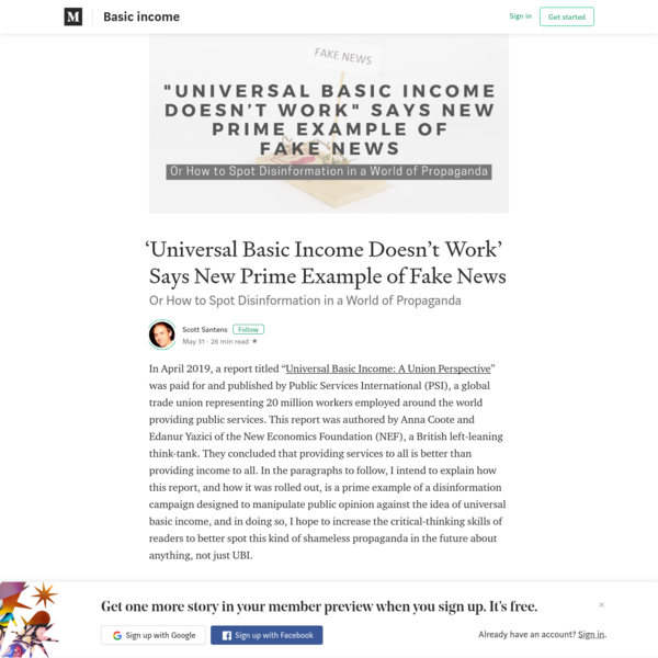 'Universal Basic Income Doesn't Work' Says New Prime Example of Fake News