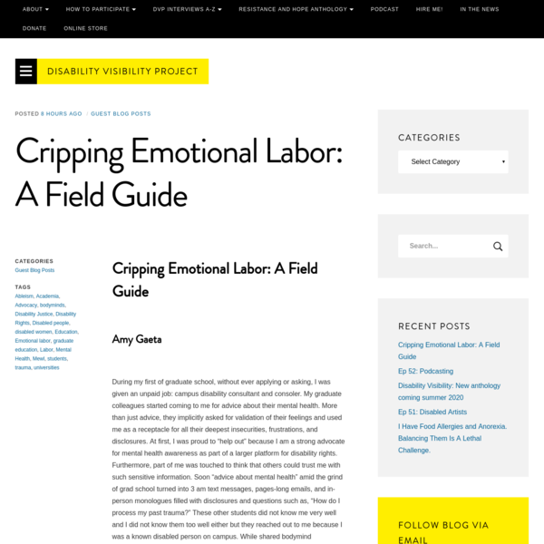 Cripping Emotional Labor: A Field Guide