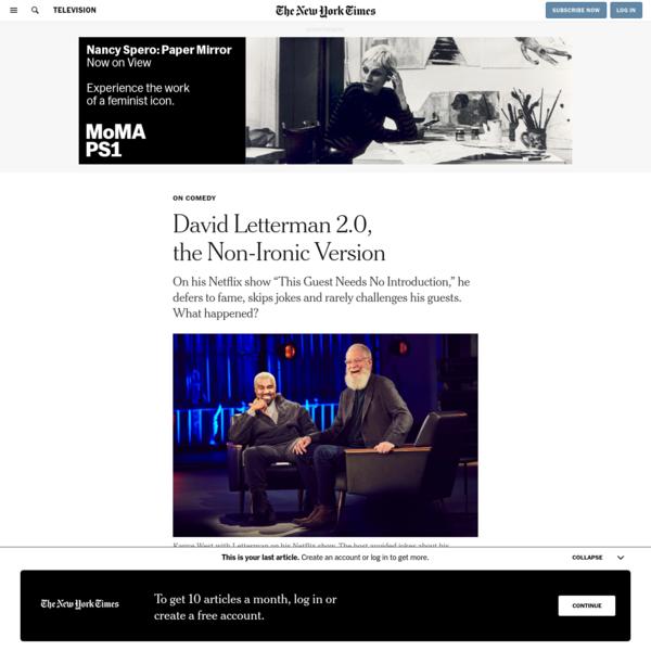 David Letterman 2.0, the Non-Ironic Version