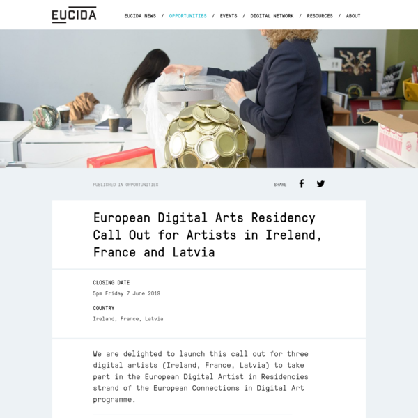 European Digital Arts Residency Call Out for Artists in Ireland, France and Latvia - EUCIDA
