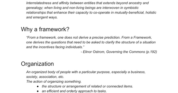 Framework for Kinship in Organizations