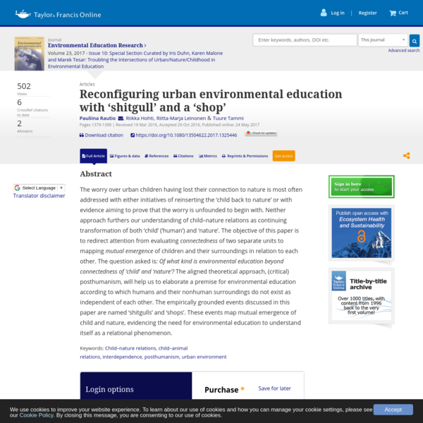 Reconfiguring urban environmental education with 'shitgull' and a 'shop' Pauliina Rautio, Riikka Hohti, Riitta-Marja Leinonen, & Tuure Tammi