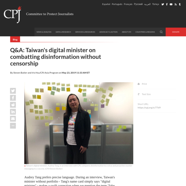 Q&A: Taiwan's digital minister on combatting disinformation without censorship