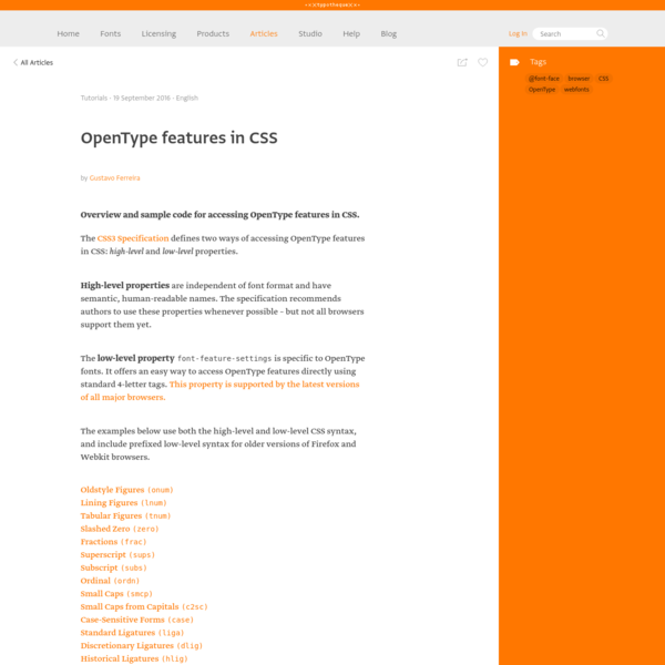 Typotheque: OpenType features in CSS by Gustavo Ferreira