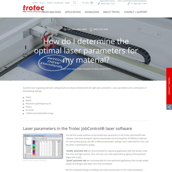 Laser Parameters - Basics and settings
