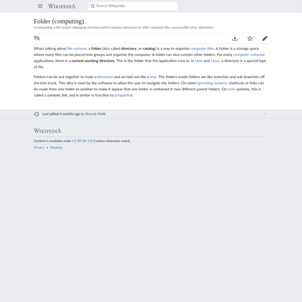 Folder (computing) - Simple English Wikipedia, the free encyclopedia