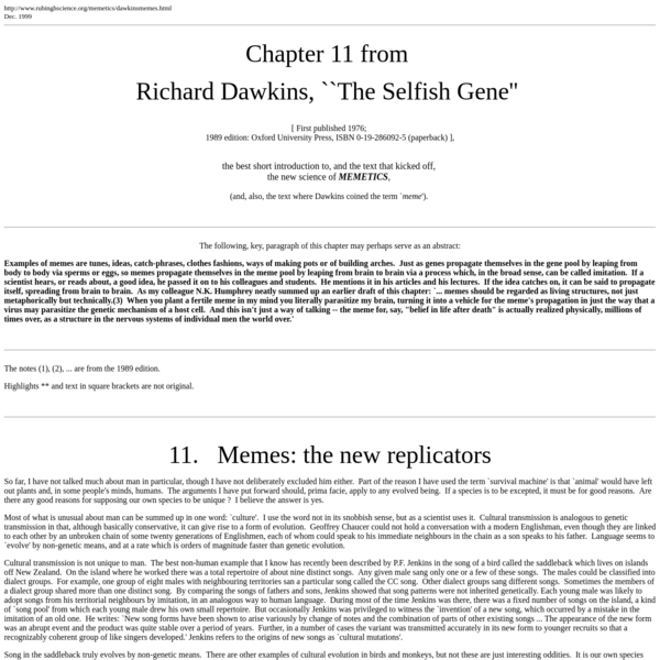 ``Memes, The New Replicators''