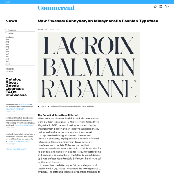 New Release: Schnyder, an Idiosyncratic Fashion Typeface