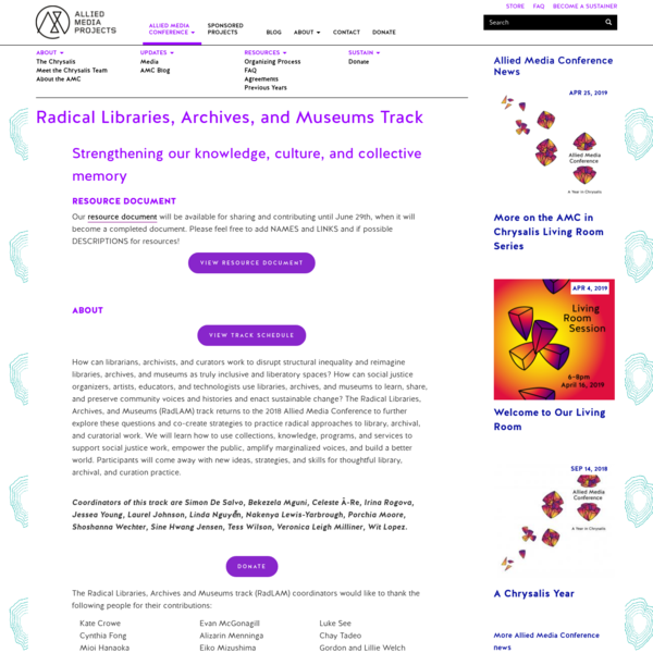 Radical Libraries, Archives, and Museums Track