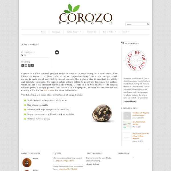 What is Corozo? - Corozo Buttons