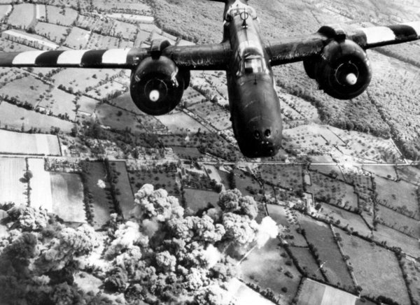 An A-20 Havoc of the United States 9th Air Force hitting enemy supply lines near Cherbourg, France, in June 1944.